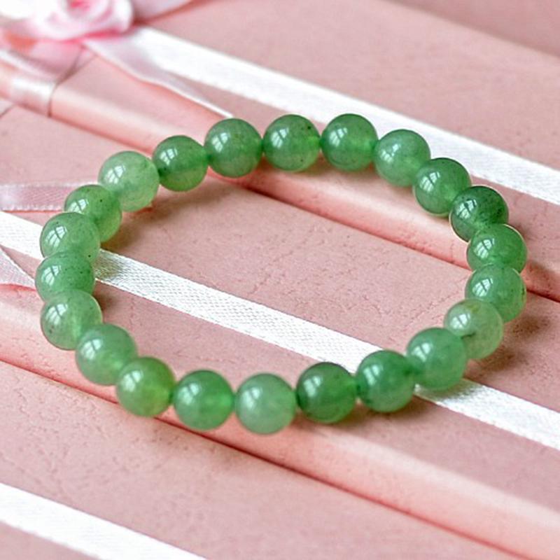MOROW 100% Natural Green Aventurine Round Bead Stone Bracelet Jewelry Simple Women`s Men Bracelets Fashion Classic Accessory New (2)