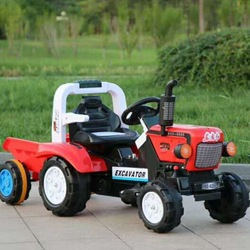 New Style Oriental Red Children Electric Quadricycle Electric Tractor Large Size Kids Toy Car with Trailer
