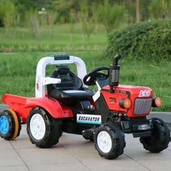Nuevo estilo Oriental rojo niños eléctrico Quadricycle Tractor eléctrico de gran tamaño niños coche de juguete con remolque