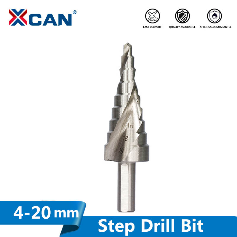 Xcan 1pc 4-20mm High Speed Steel Step Drilll Bit For Wood Metal Hole Drilling Spiral Groove Core Drill Bit