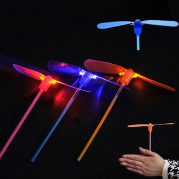 Led Flash Plastic Bamboo Dragonfly Propeller Kids Outdoor Hand Push Gifts Toy 77HD image