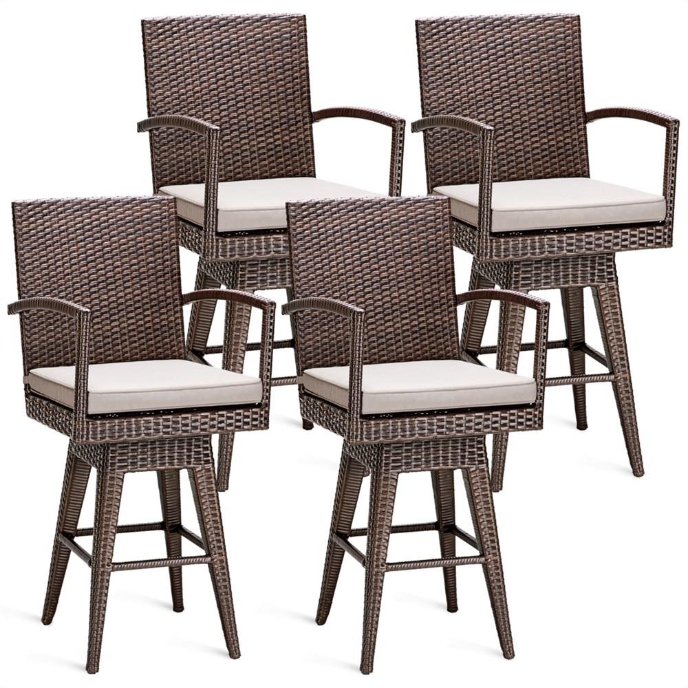 Costway 4PCS Rattan Swivel Bar Stool Chair Patio Backyard Furniture Seat Cushion