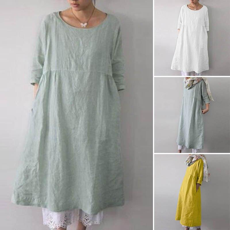 Женское льняное платье, кафтан, женский сарафан с рукавом до локтя, 2020, ZANZEA, модные женские рубашки, платье, большие размеры, для вечеринок, ме...