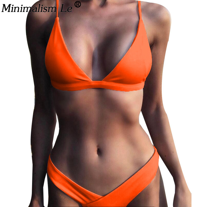 Women Solid Bikini Set Sexy Bikinis Low Waist Swimwear Bathing Suit Summer Retro Swimsuit Female Yellow Beach Wear Biquini