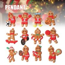 12PCS Christmas Decor Santa Tree Hanging Cartoon Gingerbread Man/Snowman/Santa Pendant Festival Party Ornament Nursery Decor