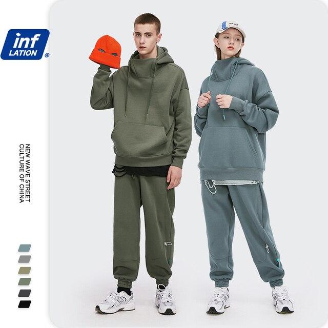 INFLATION Men Thick Fleece Tracksuit 2020 Winter Warm Sweatshirt Set For Couple High Collar Oversized Hoodies Men Sweatpant Set