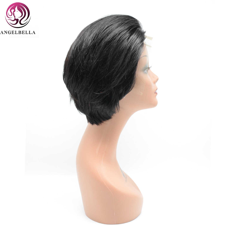 Angelbella brasileña sedosa recta de pelo humano peluca con malla Frontal 13*4 peluca Frontal de encaje de 8 pulgadas pelucas de pelo humano Remy para mujeres