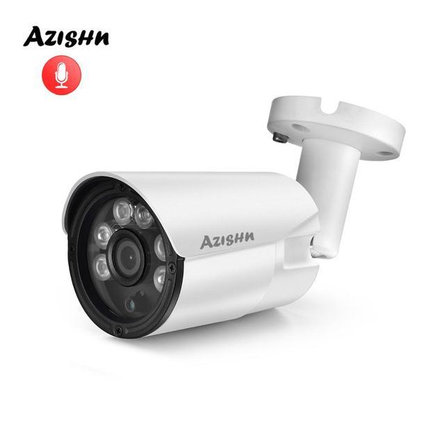 AZISHN H.265+ 5MP/3MP/2MP IP Camera ONVIF Audio 6IR Night Vision Metal IP67 Outdoor DC/POE CCTV Security Video Surveillance Cam