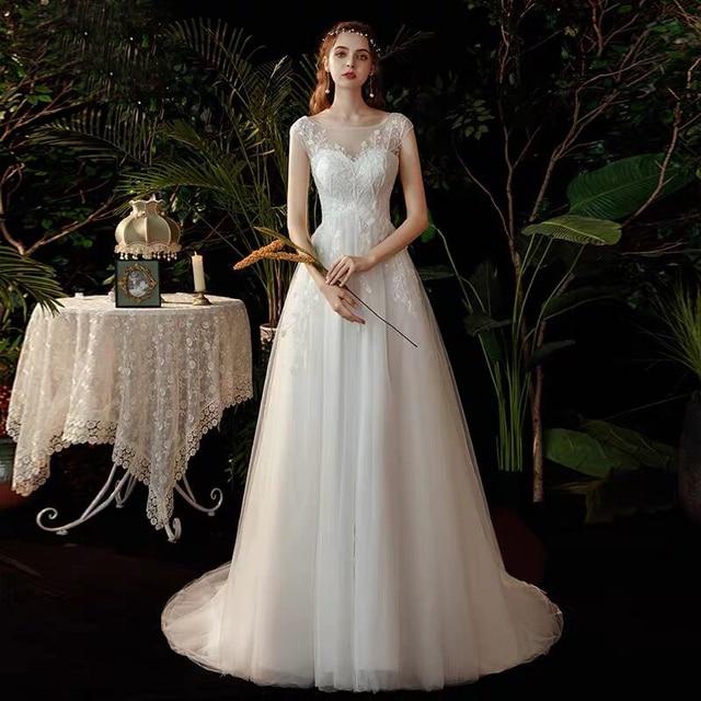 Boho robe de mariee vestido novia wedding dress longue Robe De Soiree simple robe de soiree bride to be gown lace robe 2