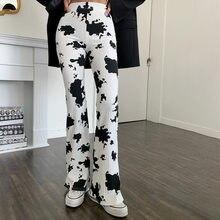 Nova moda feminina preto e branco vaca imprimir casual calças de cintura alta reta y2k harajuku gótico