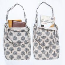 1 Pc Cotton Canvas Floral Handmade Handbag File Bag Students Stationery Schoolbag Foldable Large Capacity Reusable Shopping Bag