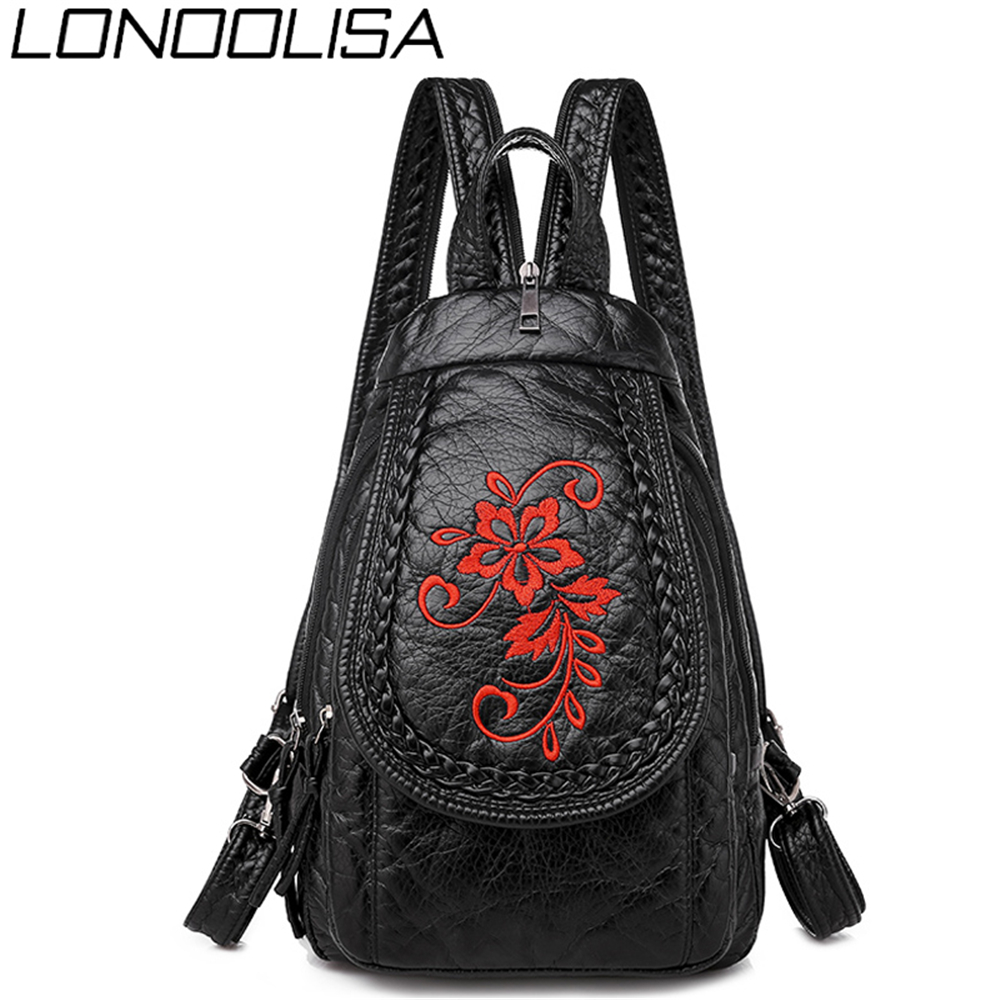New 3-in-1 Women Backpack Ladies Fashion Embroidery Flowers Chest Bag Soft Washed Leather Light Travel Small Bag Mochila Mujer