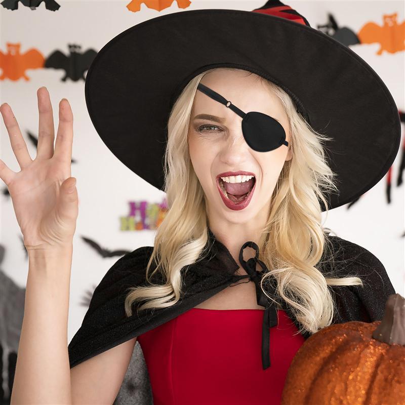 1 шт. Пиратская повязка на глаз простой черный Цвет; Прочная и удобная накладка на глаза один глаз лучше всего подходит для Для женщин взросл...