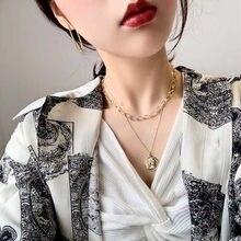 Elizabeth coin colar em camadas colar Coreano moda europeus e Americanos colar de osso colar de pingente de presente do feriado
