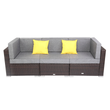 3 Pieces Patio PE Wicker Rattan Corner Sofa Set Including 2 Pieces of Corner Sofa + 1 Piece of armless Sofa
