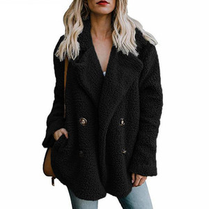 Image 3 - טדי מעיל נשים פו פרווה מעילים ארוך שרוול פלאפי פרווה מעילי חורף חם נשי מעיל נשים מעילי חורף 2020 בתוספת גודל 5XL