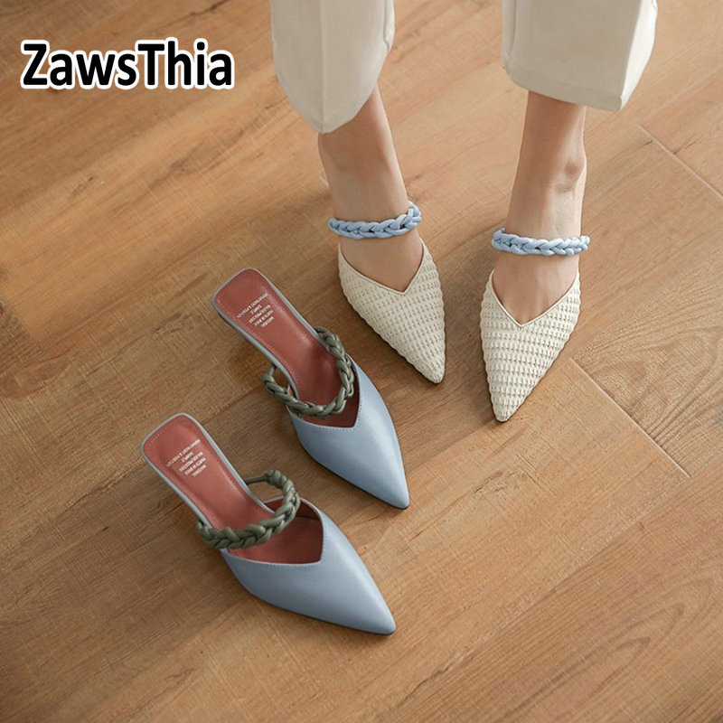 ZawsThia 2020 Summer Outdoor Woman Slippers Genuine Leather Pointed Toe Sexy Thin High Heels Woman's Pumps Women Slides Mules