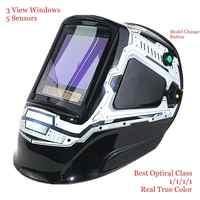 "Auto Darkening Welding Mask 3 View Windows Size 100x93mm (3.94x3.66"") DIN 4-13 Optical 1111 5 Sensors CE Welding Helmet"