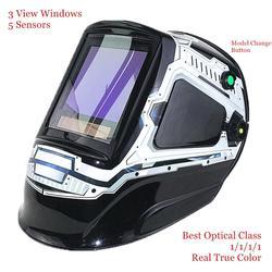 Máscara de Soldadura de oscurecimiento automático 3 ventanas de visión tamaño 100x93mm (3,94 3,66 x ) DIN 4-13 óptico 1111 5 sensores EN379 casco de soldadura