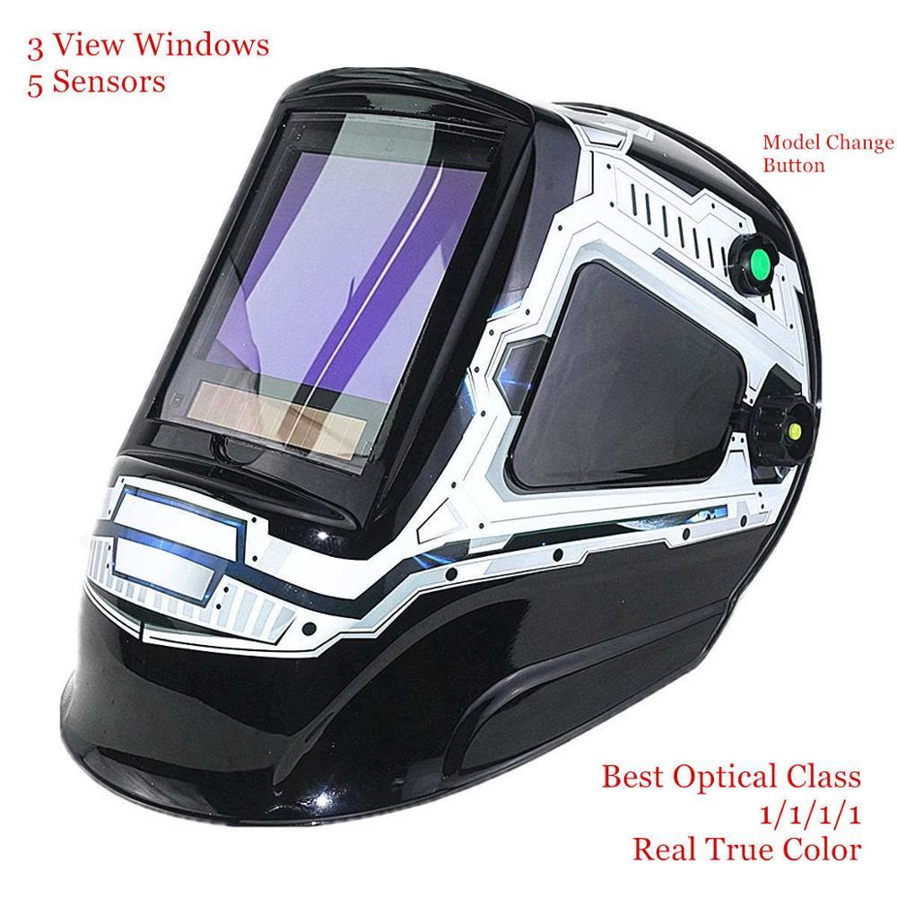 Máscara de soldadura de escurecimento automático 3 vista windows tamanho 100x93mm (3.94x3.66 ) din 4 13 óptico 1111 5 sensores ce capacete de soldagem