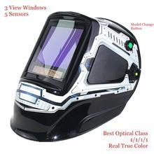 Máscara para realizar soldaduras, casco para soldar con pantalla de oscurecimiento automático y 3 ventanas de visión, DIN 4 13 óptico 1111, con 5 sensores EN379 y tamaño de 100mm x 93mm (3,94x3,66 pulgadas)