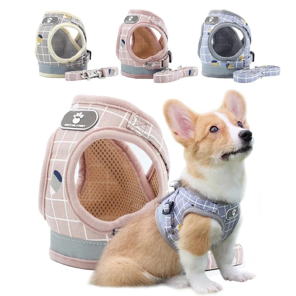 Breathable Dog Harness Reflective Adjustable Cat Collars Vest Puppy Printed Mesh Vest Kitten  Leash Harnesses Pet Supplies