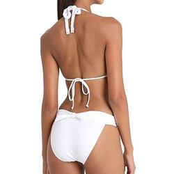 Unikalne stroje kąpielowe damskie dekolt bez pleców Halter stroje kąpielowe damskie Bikini dwuczęściowy strój kąpielowy Tankini plaża strój kąpielowy strąckąpielowy 3