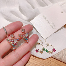 Korean geometric hook earrings dangle  luxury indian boho color crystal rhinestone trendy fashion jewelry women
