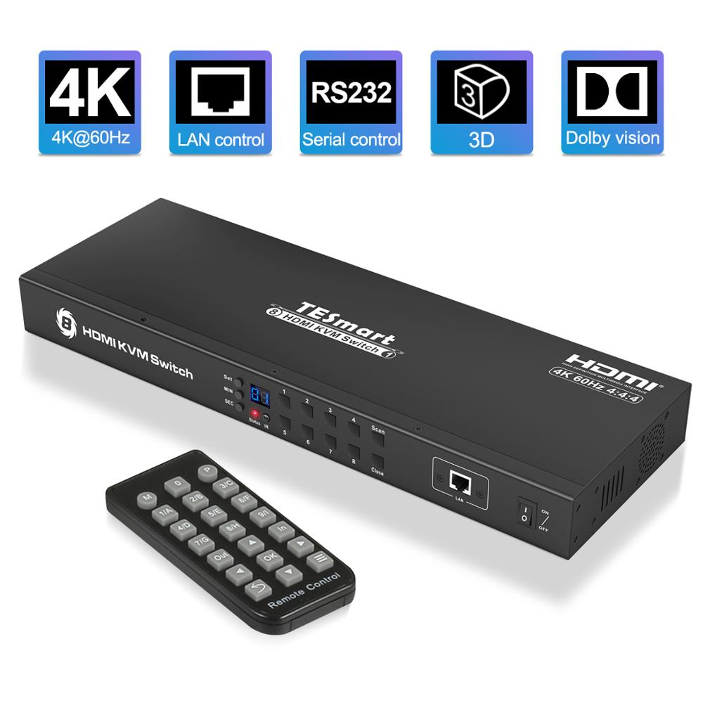 4K HD KVM Switch 8 Port HDMI Switcher Up To 4K@60Hz Ultra HD Support USB2.0 IP Control Auto Scan Rackmount With 4 Pcs KVM Cable