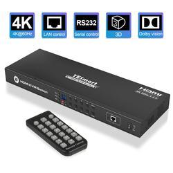 4K HD KVM Switch 8 Puerto conmutador HDMI 4K @ 60Hz Ultra HD USB2.0 IP Control de escaneo automático de montaje en rack con 4 Uds KVM cable