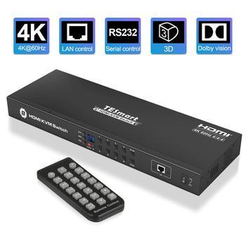 KVM Switch 8 Port HDMI Switcher Up to 4K@60Hz Ultra HD Support USB2.0 IP Control Auto Scan Rackmount with 4 Pcs KVM cable 4K HD d lin k dkvm 4k 4 port kvm