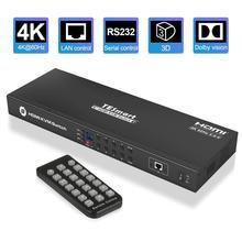 KVM Switch 8 Porte HDMI Switcher Fino a 4K @ 60Hz Ultra HD di Sostegno USB2.0 IP di Controllo Auto scansione Rack con 4 Pcs cavo KVM 4K HD