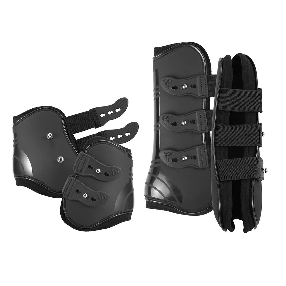 Fashion Front And Rear Horse Leg Boots Adjustable Horse Front And Rear Leg Protectors Practical Outdoor Equestrian Supplies