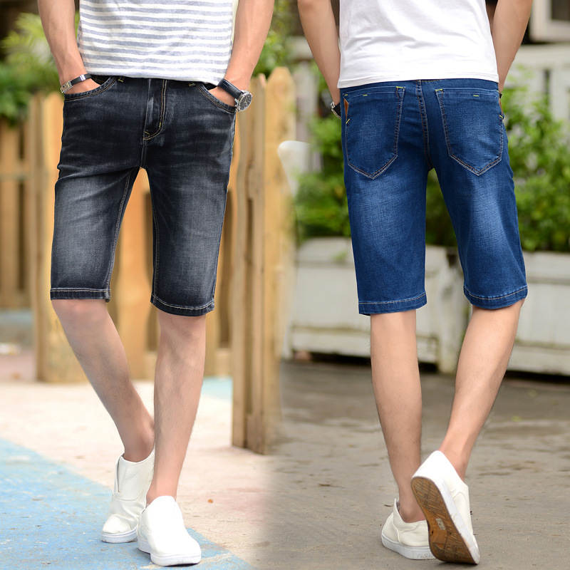 MEN'S Wear Summer MEN'S Jeans Shorts Business Ultra-stretch Thin Straight-Cut Shorts Middle-aged Large Size Fashion Shorts