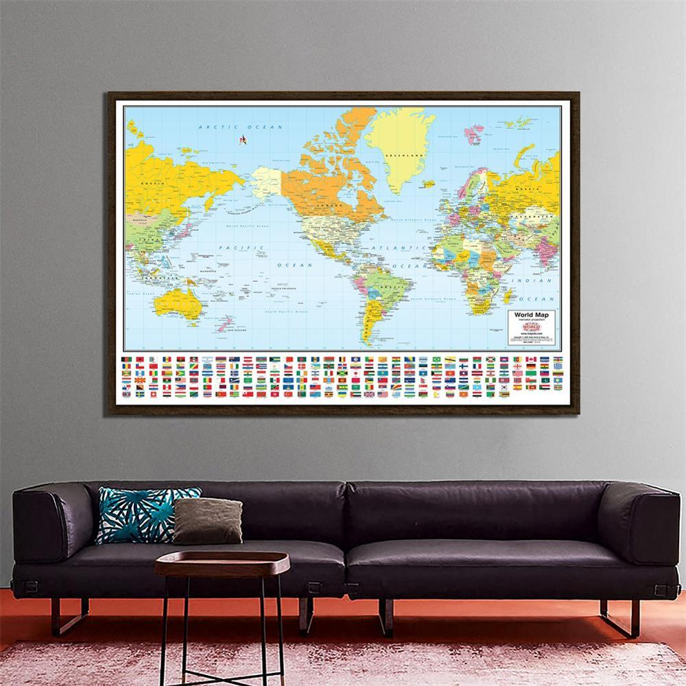 150x225cm The World Mercator Projection Map With National Flags Non-woven Waterproof World Map For Travel And Trip