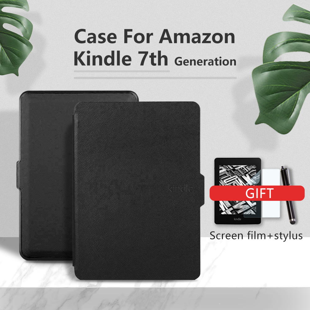 Case For Amazon Kindle 7th Generation 2014 6'' Ereader Slim Protective Cover Case+film+stylus