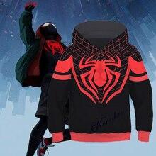 Cosplay Spiderman Into the Spider Verse Miles Morales Hoodie Sweatshirts Kids Scarlet Costumes Boy Zipper Hooded Jacket