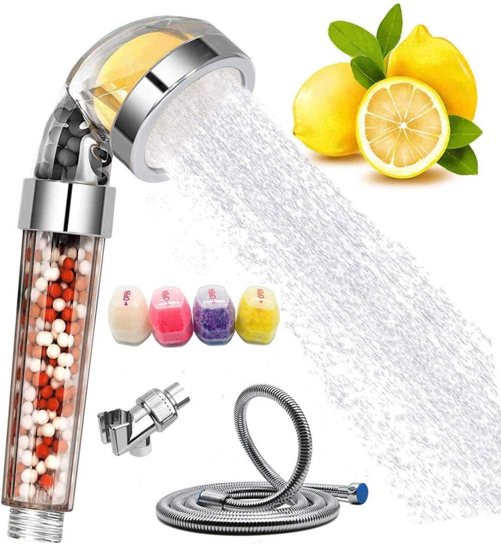 Zloog Bathroom Ionic Mineral Beads Shower Head with Vitamin C Shower Filter High Pressure Saving Water Handheld SPA Shower