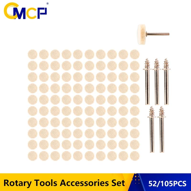 52pcs/105pcs 13x7mm Wool Felt Polishing Wheel Kit For Dremel Rotary Tools With Mandrel Wool Grinding Polishing Wheels(China)