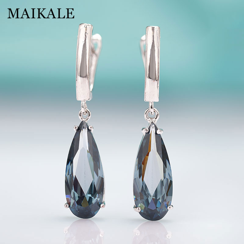 MAIKALE New Fashion Long Earrings For women Party Jewelry Rose Gold Water Drop Natural Zirconia Green Dangle Earrings For Gift