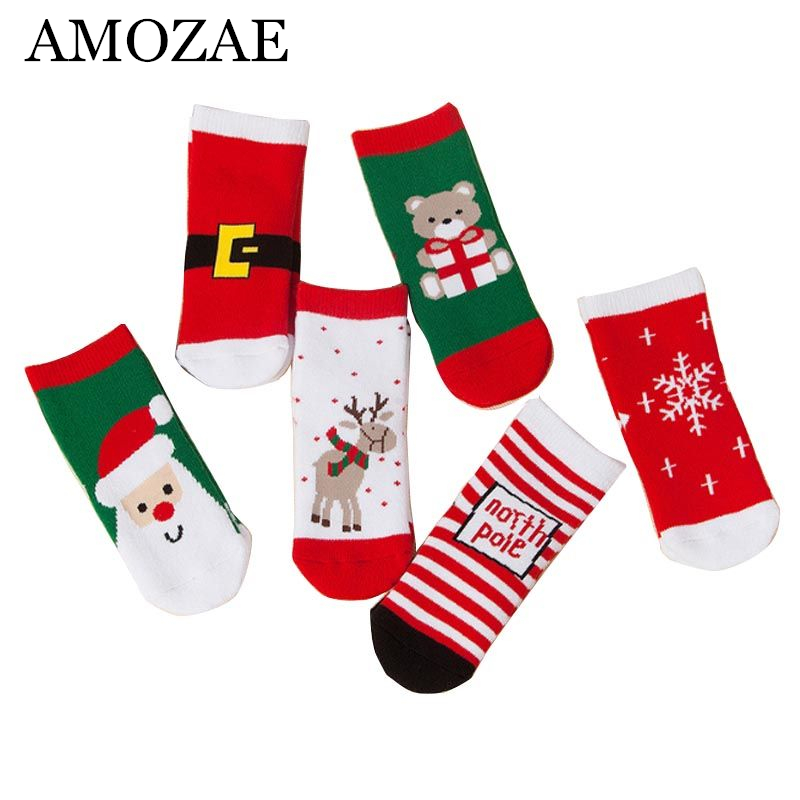 2019 New Cotton Spring Winter Autumn Baby Girls Boys Kids Socks Children Striped Terry Snowflake Elk Santa Claus Christmas Bear