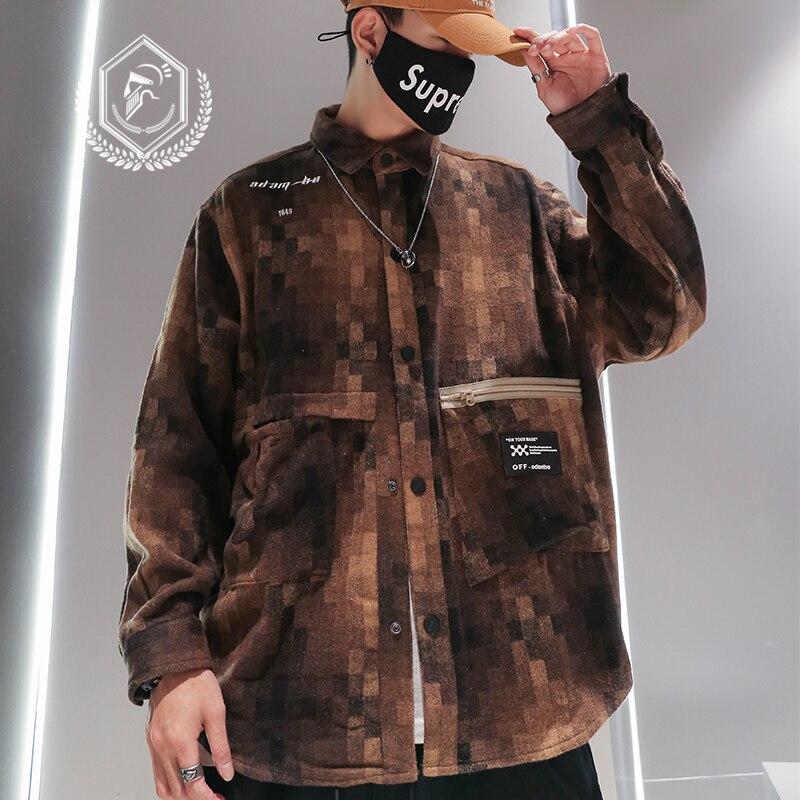 Men Fashion Loose Print Casual Fleece Hip Hop Shirt