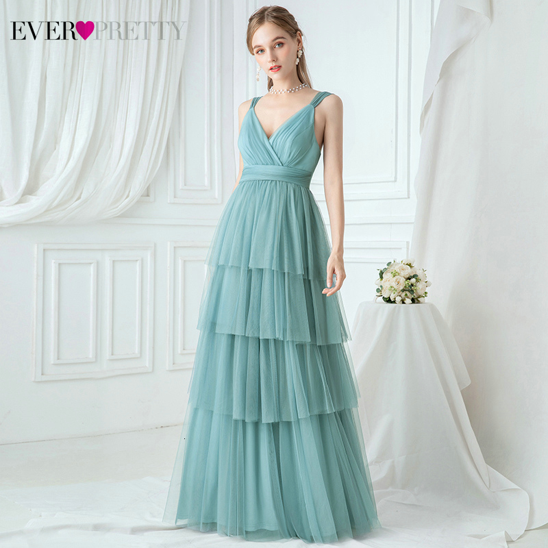 Elegant Blue Bridesmaid Dresses Ever Pretty EP00731DB Layers A-Line V-Neck Ruched Spaghetti Straps Tulle Wedding Party Gowns
