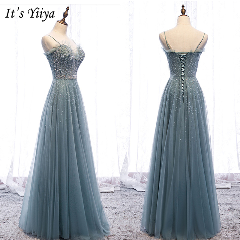 It's Yiiya Evening Dress 2019 Summer Spaghetti Strap Crystal Party Formal Dressses Elegant Lace Up Robe De Soiree Plus Size E971