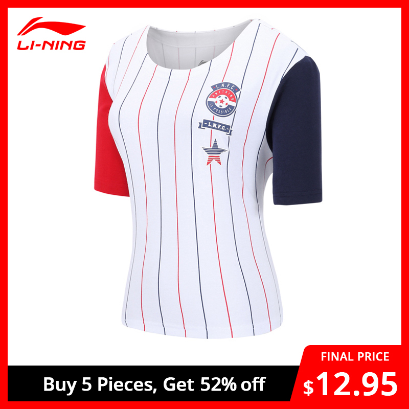 Li-Ning Women The Trend T-Shirt 100% Cotton Loose Fit LiNing Breathable Stripes Jerseys Li Ning Sports Tee Tops AHSN068 WTS1486
