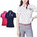 PGM тенниска для женщин для активного летнего спорта с коротким рукавом Одежда футболки Одежда для гольфа