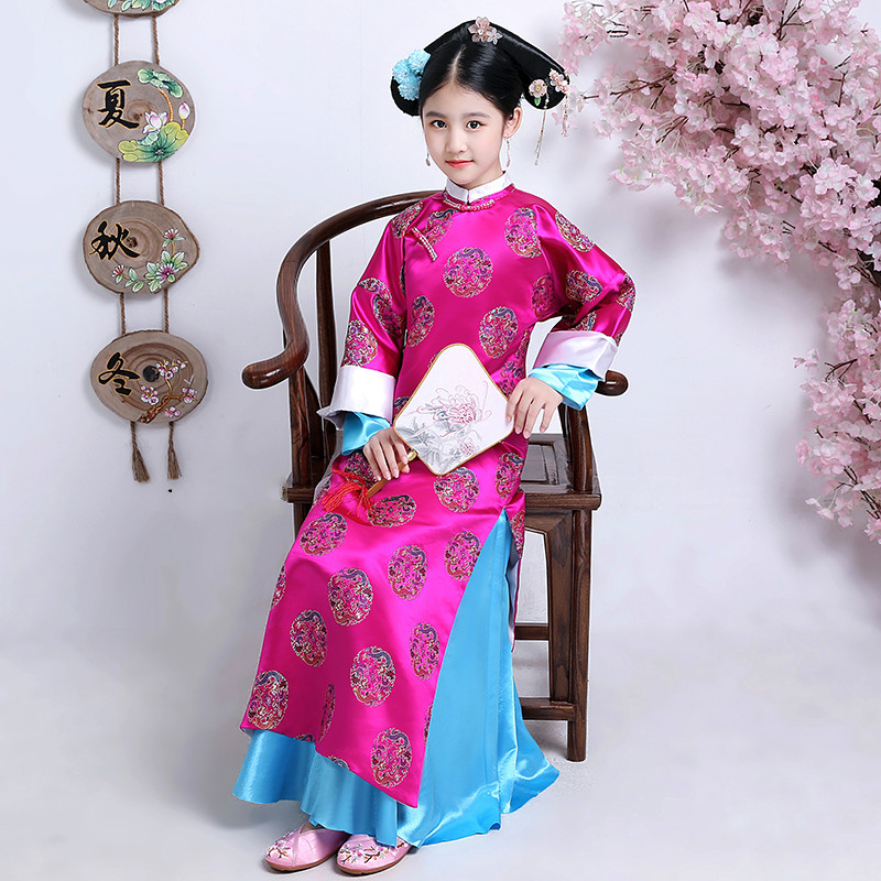 Embroidery Girl Qing Dynasty Princess Folk Elegant Costume Ancient Chinese Clothing Court Dress For Cosplay Stage Performance