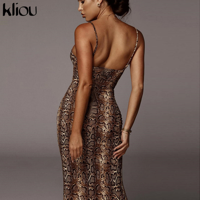 Kliou Sexy Serpentine print Women sleeveless Backless Elegant Slim Pencil Dress 2020 Adjustable shoulder strap banquet Dress 5