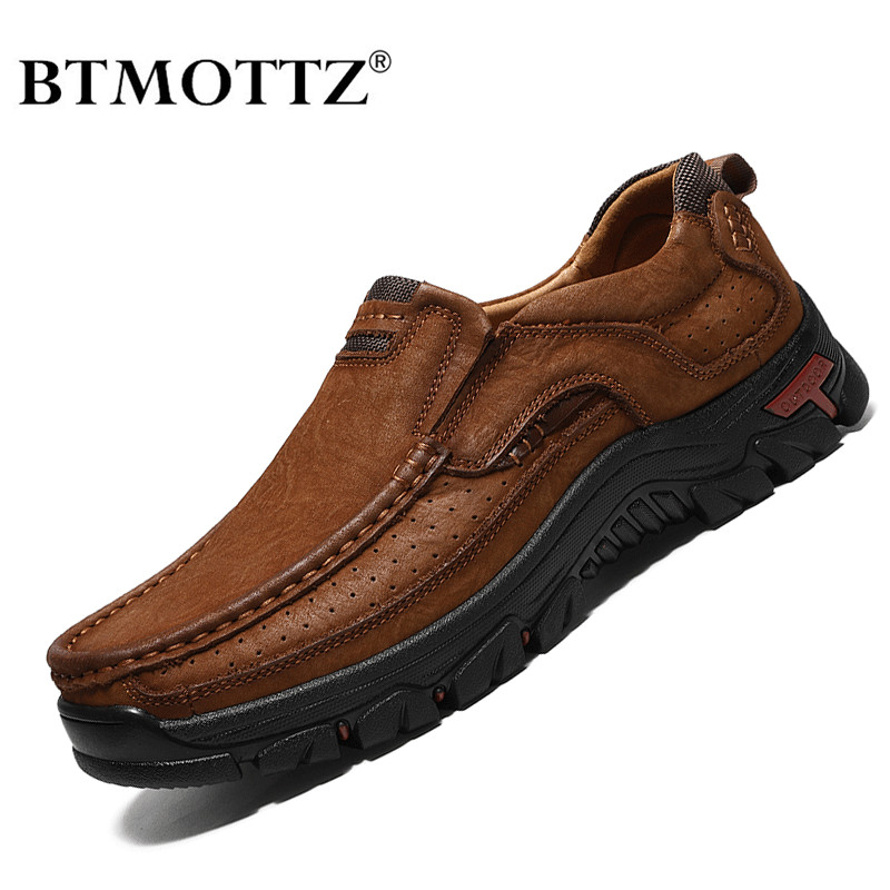 BTMOTTZ Genuine Leather Casual Shoes Men Sneakers Brand 2020 Mens Loafers Moccasins Breathable Slip On Driving Shoes Plus Size