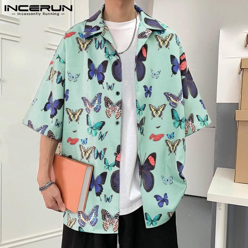 INCERUN 2020 Printing Men Hawaiian Shirt Short Sleeve Casual Vacation Summer Blouse Chic Fashion Loose Streetwear Beach Camisas